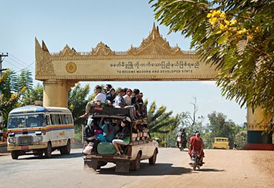 City gate in Taunggyi bearing the motto for the future @ Birgit Neiser