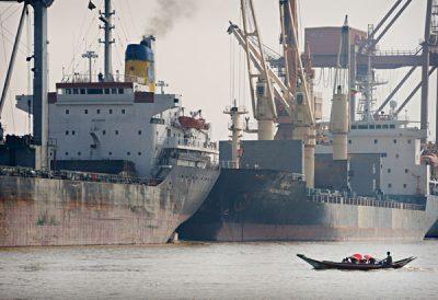 Merchant ships and ferries in the Port of Yangon  @ Birgit Neiser