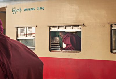 At the railway station in Pyin Oo Lwyin. The railway cars date from the colonial period @ Birgit Neiser