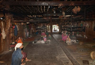 Longhouse of the Loi tribe, Shan State. Each family has its own hearth @ Birgit Neiser