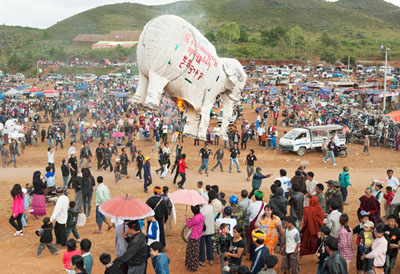 Balloon festival in Taunggyi on the occasion of the Tazaungmon Festival of Lights. White elephants are still highly venerated in Myanmar. They are prosperity for the country and its people @ Birgit Neiser