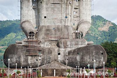 Concrete sitting Buddha, 80 metres high, under construction @ Birgit Neiser
